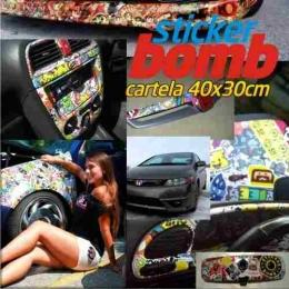 Adesivo Sticker Bomb 40 X30cm Retrovisor Rodas Tanque